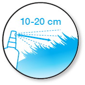 Schéma d'application du spray Eliminall