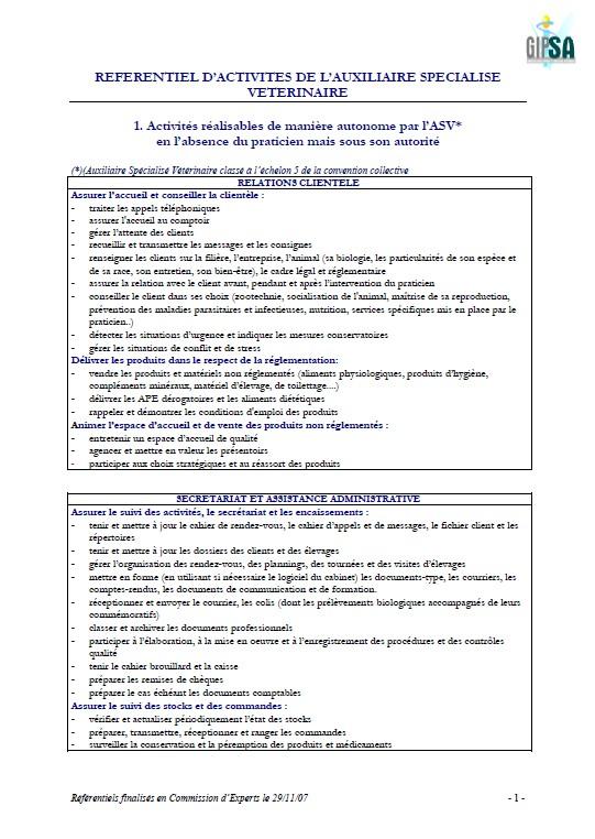 Referentiel Des Taches Demandees A L Asv Et Activites Autorisees